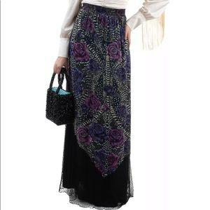JUST CAVALLI Black Floral Crepe Maxi Skirt Sz42/6